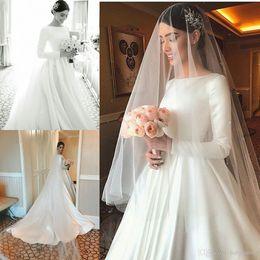 $enCountryForm.capitalKeyWord Australia - Plain New Designer Cheap Simple Satin Wedding Dresses Modest Long Sleeve Beteau Neckline Court Train Bridal Gowns Formal Robe de mariage