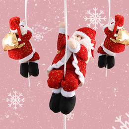 outdoor santa claus decorations 2019 - Rope Climbing Santa Claus For Christmas Tree Indoor Outdoor Wall Window Hanging Pendant Ornament Decor Christmas Decorat