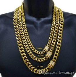14k Chains Australia - Men's Miami Cuban Link Chain 14k ,Gold Plated Stainless Steel BEST QUALITY STONE