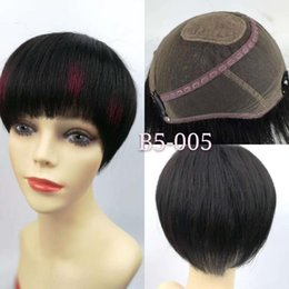 $enCountryForm.capitalKeyWord Australia - 100% Human Hair Summer 1 2 Wigs for Black Women Silk Based Top Lace Short Wig Thin Half Cap Wig with OEM on Color and Style
