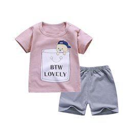 clothes set velvet sports UK - 2pcs Baby Boy Summer Clothes Suit Infant Newborn Girl Clothing Set Sports Tshirt+ Shorts Suits Toddler Sport Suit Baby Outfits