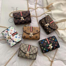 Toptan satış Çocuklar omuz çantaları Moda Kız Baskı crossbody çanta zincir Fanny Paketi Rahat Açık prenses Kılıfı parti