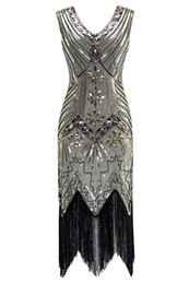 $enCountryForm.capitalKeyWord UK - QUALITY Women 1920s Sequined Vintage Dress Beaded Gatsby Flapper Evening Dress Prom Embellished Art Deco Roaring 20s Party Costume