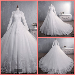 8a1d9a7891b Vestidos De Noiva Bride Dress 2019 Ball Gown Princess Lace Muslim Wedding  Dress Long Sleeve Vintage Hijab Wedding Dress 2019 best selling