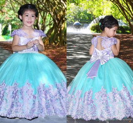 girls bow back shirt NZ - Cute Vintage Lilac Green Ball Gown First Communion Dress Lace Cap Sleeves Applique Big Bow Draped Keyhole Back Flower Girl Dress Pageant