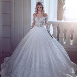 59cb5ea97c Romántico elegante blanco satinado vestidos de novia 2019 nuevos cuerpos de  ilusión Sheer mangas largas de encaje con cuentas Country Beach boda  vestidos de ...