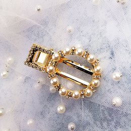 pearl gold hair clips Canada - 11 Species Korean Ins Crystal Pearl Hair Clip Barrettes Rhinestone Gold Temperament Hairpins Hair Accessories Fashion Women Jewelry New