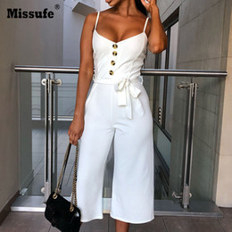 Fashion Jumpsuits For Women Australia - Missufe Solid Straight Rompers Summer Sleeveless Overalls For Women Lace Up V Neck Long Playsuit Spaghetti Strap Button Jumpsuit Y19051501