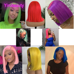 pink lace wigs Australia - Brazilian Virgin Hair Bob Wig 13X4 Lace Front Wigs Yellow Red Blue Orange Pink Peruvian Malaysian Lace Front Human Hair Wigs 12-16inch