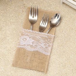 $enCountryForm.capitalKeyWord Australia - Burlap Cutlery Holder Vintage Shabby Chic Jute Lace Tableware Pouch Packaging Fork Knife Pocket Party Decoration Free DHL