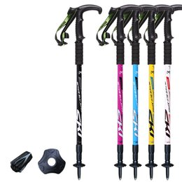 a1 alloys NZ - Alloy Outdoor Hiking Trekking Poles Shock Absorber Old Man's T Handle Crooked Crutch Lightning Protection Walking Stick Alpenstocks 16ad A1