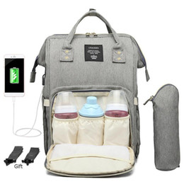 $enCountryForm.capitalKeyWord UK - Usb Port Maternity Nursing Bag Waterproof Mummy Diaper Bags Large Mother Travel Nappy Backpacks With Hooks Bottle Cover 2019 New Y19061004