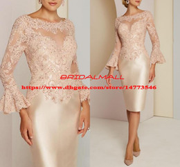 Discount bodice mother bride dress - Beads Appliqued Satin Mother of The Bride Dresses 2019 Illusion Bodice 3 4 Sleeves Groom Mother Formal Gowns Plus Size W