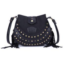 Color Leather Bags Australia - good quality 2019 Handbag Women Tote Bag Female Rivet Solid Color Nubuck Pu Leather Shoulder Crossbody Bag Ladies Messenger Bags