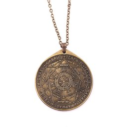$enCountryForm.capitalKeyWord UK - Huilin Jewelry Engraved Seals Of The Seven Archangels Unisex Jewelry Bronze Pendant Necklace