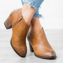 $enCountryForm.capitalKeyWord Australia - Women Pointed Toe PU Leather Short Boots New Fashion Shallow Zipper Mid Chunky Block Heel Spring Autumn Ankle Boots
