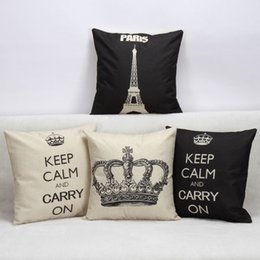Carry Chair Australia - Paris Crown Keep Calm and Carry On Cushion Cover Modern Black and White Pillow Covers 45X45cm Decorative Sofa Chair Pillow Case Room Decor