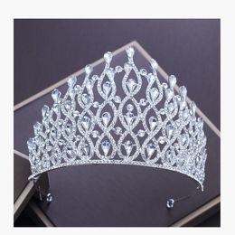 $enCountryForm.capitalKeyWord Australia - New Silver Color Luxury Crystal Crown For Wedding Bride Tiara Big Crown Rhinestone Bridal Crown For Wedding Hair Accessories J190703