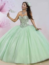 Pear Color Dress Australia - Sweetheart Neckline Ball Gown Quinceanera Dress with Rhinestones Crystals Sleeveless Ruffled Sweet 15 16 Dresses with Sheer Bolero
