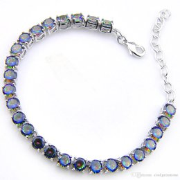$enCountryForm.capitalKeyWord Australia - 3PCS   LOT Luckyshine Hot sell fashion 925 sterling silver trendy Heart Fire Mystic Topaz Gemstone chain bracelets