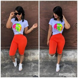 sheer yoga pants 2019 - Big Lips Women Tracksuit Short Sleeve T-Shirt Tops + Shorts Pants 2pcs Set Summer Sport Suit Outfits Sportswear Fitness