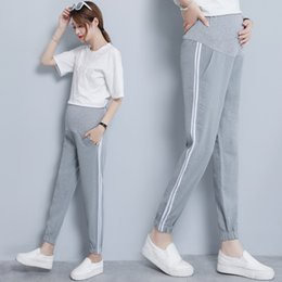 $enCountryForm.capitalKeyWord Australia - Thin Maternity Pants High Waist Belly Sports Jogger Pants for Pregnant Women Pregnancy Casual Trousers Chiffon Pregnant