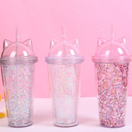 $enCountryForm.capitalKeyWord NZ - Ear glitter double milk tea cup children's baby cartoon cute water bottle creative sequin plastic straw juice cup glass mugs T2I5150
