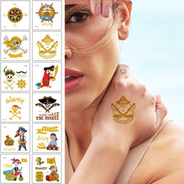 tattoo words designs NZ - Cute Flash Gold Body Art Painting Temporary Tattoo Sticker Pirate Adventure Captain Treasure Words Corsair Metal Design Cartoon Funny Tattoo