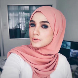 Linen scarves musLim online shopping - High Quality Linen Scarf New Bubble Silk Women Hijab Muslim Wrap for Female Foulard Solid color Big Size CM colors