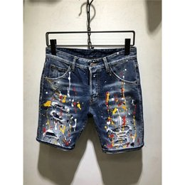 Modern Coating Australia - Coated Hot Summer 2019 Boutique Men's High-quality Leisure Cowboy Shorts Hole Male Elastic Shorts   Men Casual Jeans Shorts T2190615