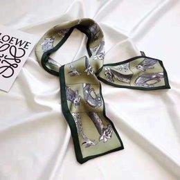 Soft Silk Scarf blue online shopping - Fashion brand designer super soft high quality silk double satin ribbon multi functional fashion headscarf bowknot tie hair