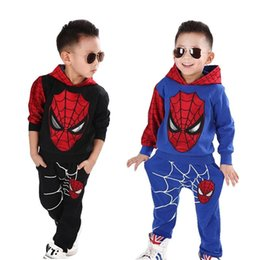 spiderman wholesale coats 2019 - New Baby Boys Spring Autumn Spiderman Sports suit 2 pieces set Tracksuits Kids Clothing sets 100-150cm Casual clothes Co