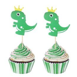 $enCountryForm.capitalKeyWord Australia - 6pcs lot Dinosaur Toppers Picks Cupcake Topper Baby Shower Boy Prince Crown Kids Birthday Party Cake Baking Party Decoration