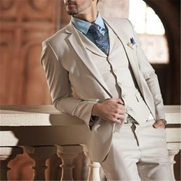 Dark Green Tie Grey Suit Australia - Ivory Cream Costume Homme Men Suits For Wedding 3Pieces(Jacket+Pant+Vest+Tie) Fashion Terno Masculino Groom Blazer Tuxdeo