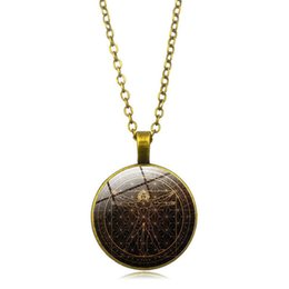 alloy bodies NZ - Round Shape Pendant Necklaces Geometric Time Gem Necklace European Vintage Alloy Necklace Fashion Lucky Body Chain