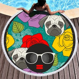 $enCountryForm.capitalKeyWord NZ - 1 Pcs Microfiber Round Beach Towel Girl With Sunglass Dog Printed Serviette De Bain Toalla Microfibra For Adults