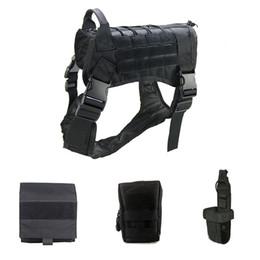 Khaki Tactical Vest NZ - Newest 9K Outdoor Training Dog Vest Harness 1000D Nylon Large Combat Tactical Vest Durable Adjustable Dog Clothes Apparel Set M L XL M86F