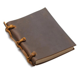 Diary Leather Australia - Vintage Blank Diaries Journals Notebook Note Book Rope Traveler Thick Genuine Leather Caderno Espiral Weekly Planner Death