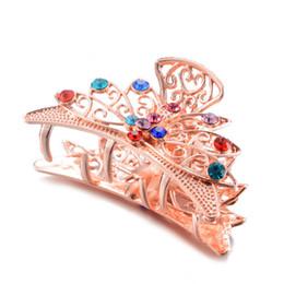 $enCountryForm.capitalKeyWord UK - Fashion Rhinestone Resin Crystal Flower Butterfly Hair For Women Hair Jewelry Charm Big Crab Clip Wedding Accessories