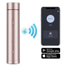 mini self defense flashlight UK - Smart Personal Alarm for Women Mini Flashlight Strobe APP Location Recording Function Smart Self Defense for Women Elderly Children