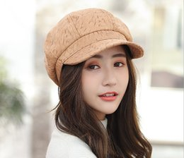 boys berets plaid hats NZ - Autumn and winter new Korean version joker printed octagonal hat female British painter hat beret manufacturers wholesale
