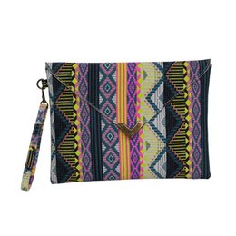 $enCountryForm.capitalKeyWord UK - Wholesale-Fashion Women Envelope Clutch Handbag Purses Canvas Tote Handbag Geometric Pattern Bohemian Lady Embroided National Evening Bag