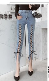 skinny lace jeans women Australia - 2019 Summer Women Sexy Lace Up Solid Skinny Jeans Fashion Hollow Out Pencil Pants Pocket Ankle-Length Denim Pants