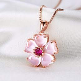 sweet pink rose Canada - Lockbone chain copper silver plated necklace sweet heart pink crystal pendant female natural rose Shi Ying rose gold choker