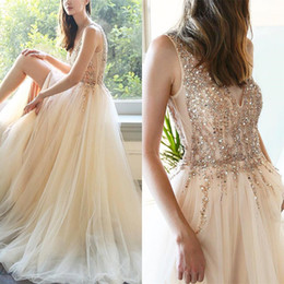 $enCountryForm.capitalKeyWord UK - charming peach gold beaded prom dresses a line plugging zipper back spark formal women engagement dresses 2019 fitted dresses evening wear