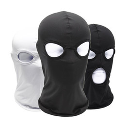 full face skull winter hats Australia - Outdoor Sport Full Face Cover Mask Three 3 Hole Balaclava Knit Hat Winter Stretch Snow Mask Beanie Hat Cap New Black Warm Face Masks
