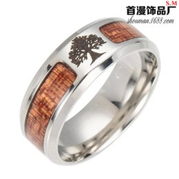 stainless steel masonic rings Australia - Women's Men's Lovers' Fashion Faith Ring Tree of Life, Cross, Masonic Stainless Steel Inlaid Wood Ring Anniversary Jewelry Gift Size 6-13