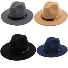 Felt Trilby Hat Australia - Fashion TOP hats for men & women Elegant fashion Solid felt Fedora Hat Band Wide Flat Brim Jazz Hats Stylish Trilby Panama Caps Wholesale