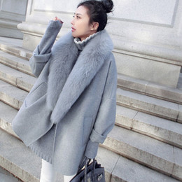 Wholesale high collar trench for sale - Group buy High Quality Big Fur Collar Cashmere Wool Coat Women Female Woolen Overcoat Winter Long Trench Coat Elegant Windbreaker