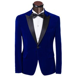 $enCountryForm.capitalKeyWord UK - Luxury Men Tuxedo Dress Suits 2019 Fashion Blue Single Button Men Suit Slim Groom Wedding Suits for Men Custom Made Mens Suits